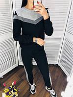 Женский костюм черный в спортивном стиле чёрный опт, фото 1