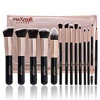 MaXmaR Профессиональный набор кисточек для макияжа (14 инструментов, в чехле)