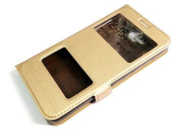 Чехол книжка с окошками momax для Huawei Y6 Pro золотой