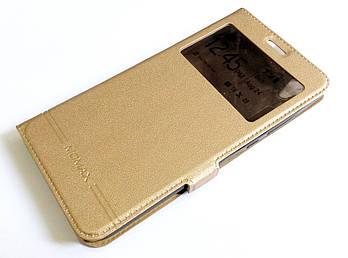 Чехол книжка с окошком momax для Huawei Y6 II / Y6-2 / Y6 2 золотой