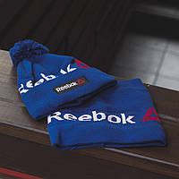 Комплект шапка зимняя и бафф Reebok синий