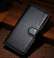 Кожаный чехол-книжка для iPhone 4 4S черный