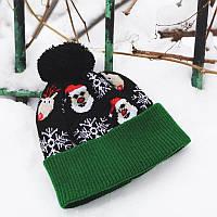 Зимняя шапка с бубоном новогодняя оверсайз унисекс олени дед мороз