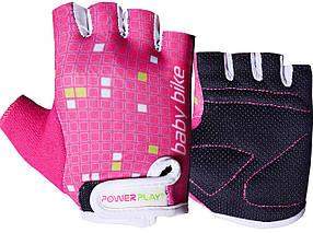 Велорукавички PowerPlay 5451 Рожево-білі XS