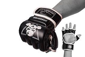 Рукавички для MMA PowerPlay 3056 А Чорно-Білі M