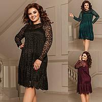 Р 42-58 Ошатне вільний гіпюрову сукню двійка Батал 20739-1, фото 1