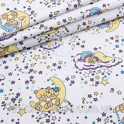"""Фланель детская """"Мишки среди сиреневых звёзд"""", ширина 180 см"""