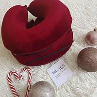 Ортопедическая дорожная подушка с эффектом памяти, цвет винный( марсала, бордовый)