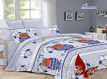Детский комплект постельного белья с  компаньоном Филин ТМ TAG ранфорс хлопок 160х220