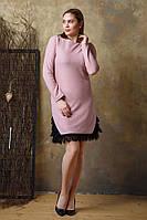 Женское платье с люрексом и кружевом Lipar Розовое Батал