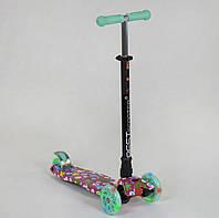 Самокат MAXI Best Scooter Лето бирюзово-розовый со светящимися колесами