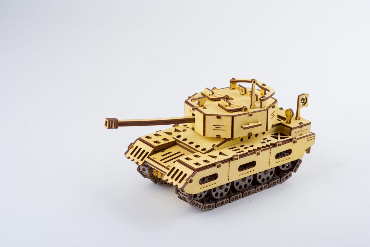Деревяний Танк  (Tank) механічний 3D пазл