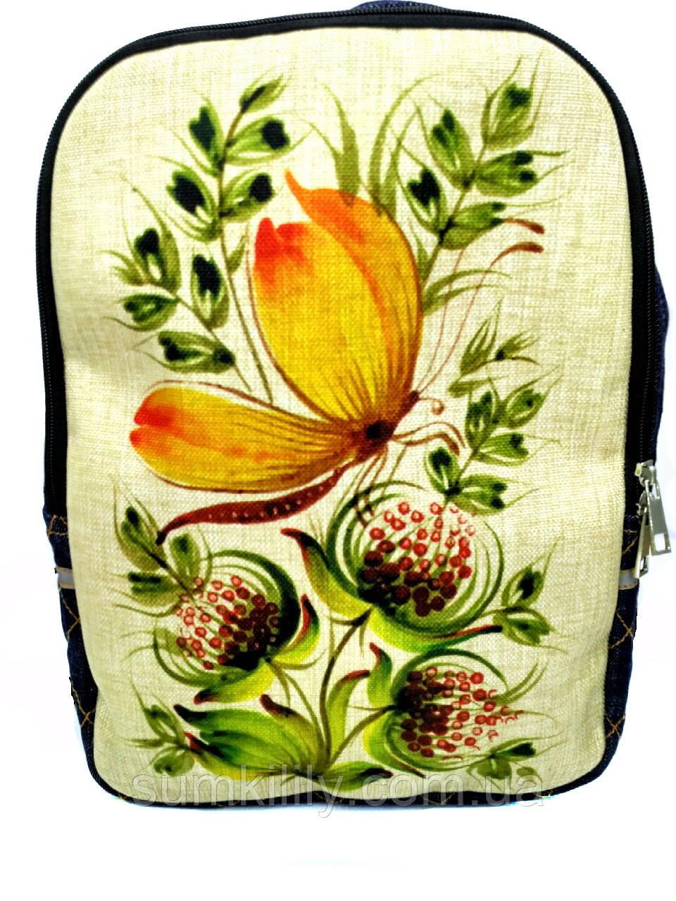 Джинсовий рюкзак Петриківський розпис