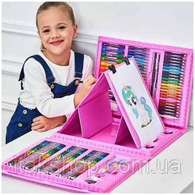 Детский набор для рисования с мольбертом 176 предметов в кейсе
