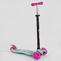 Самокат MAXI Best Scooter Радость розово-голубой со светящимися колесами