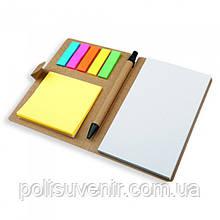 Еко-блокнот з стікерами та  ручкою