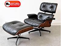 Дизайнерское кресло Релакс с оттоманкой черная натуральная кожа, Eames lounge chair and ottoman