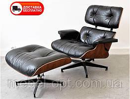 Дизайнерське крісло Релакс з отоманкою чорна натуральна шкіра, Eames lounge chair and ottoman
