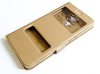 Чехол книжка с окошками momax для Huawei Y7 Prime (2017) золотой