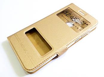Чехол книжка с окошками momax для Huawei Honor 6A (Pro) золотой