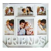 "Фоторамка-коллаж на 6 фото, ""FRIENDS"", пластик, белый"
