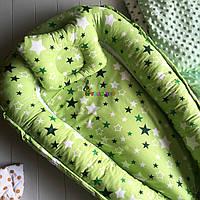 Гнездо-кокон для новорожденного 85Х40 см +подушка Звездочка зеленая, фото 1