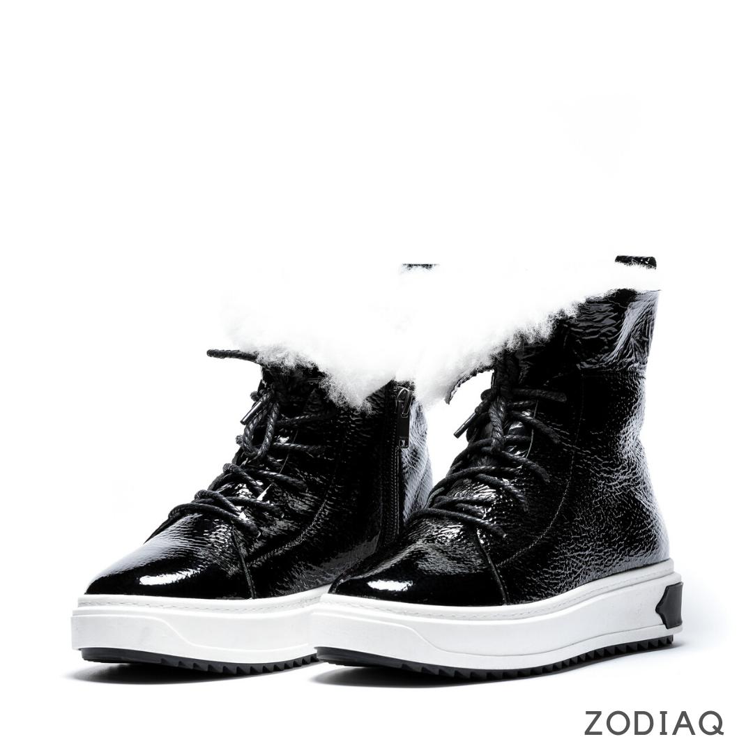 Ботинки женские зимние кожаные натуральный мех b 5547 - чер.лак.s