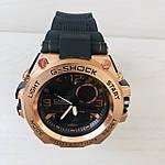 Мужские спортивные наручные часы Casio G-Shock (реплика) черный ремешок золотой циферблат, фото 5