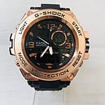 Мужские спортивные наручные часы Casio G-Shock (реплика) черный ремешок золотой циферблат, фото 2
