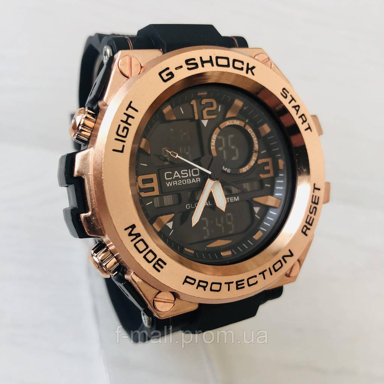 Мужские спортивные наручные часы Casio G-Shock (реплика) черный ремешок золотой циферблат