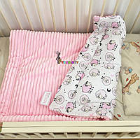 Плюшевый плед Minky с хлопковой подкладкой, нежно-розовый
