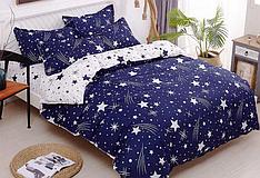 """Евро комплект постельного белья """"Комета тёмно-синея"""""""
