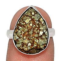 Серебряное кольцо с пиритом в слюде, 1313КП