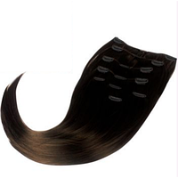 Волосы на заколках ровные из термоволокна 8 прядей 47 см, цвет шоколад