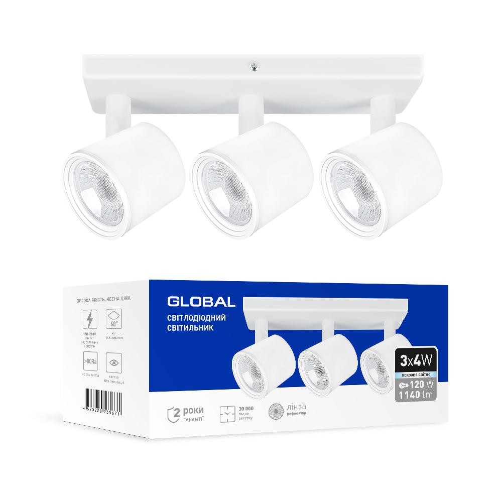 Спотовый светодиодный светильник (бра) GLOBAL 3-GSL-21241-SW 3x4W 4100K Белый