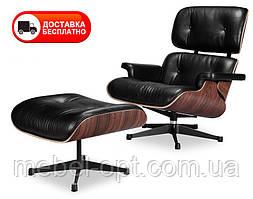 Кресло Релакс с оттоманкой натуральная кожа, цвет черный Eames Lounge Armchair & Ottoman
