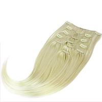 Волосы на заколках ровные из термоволокна 8 прядей 47 см, цвет светлый блонд пепельный (холодный)