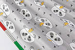 """Отрез сатина """"Панды-индейцы и полосатые треугольники"""" на сером №2143с, фото 5"""
