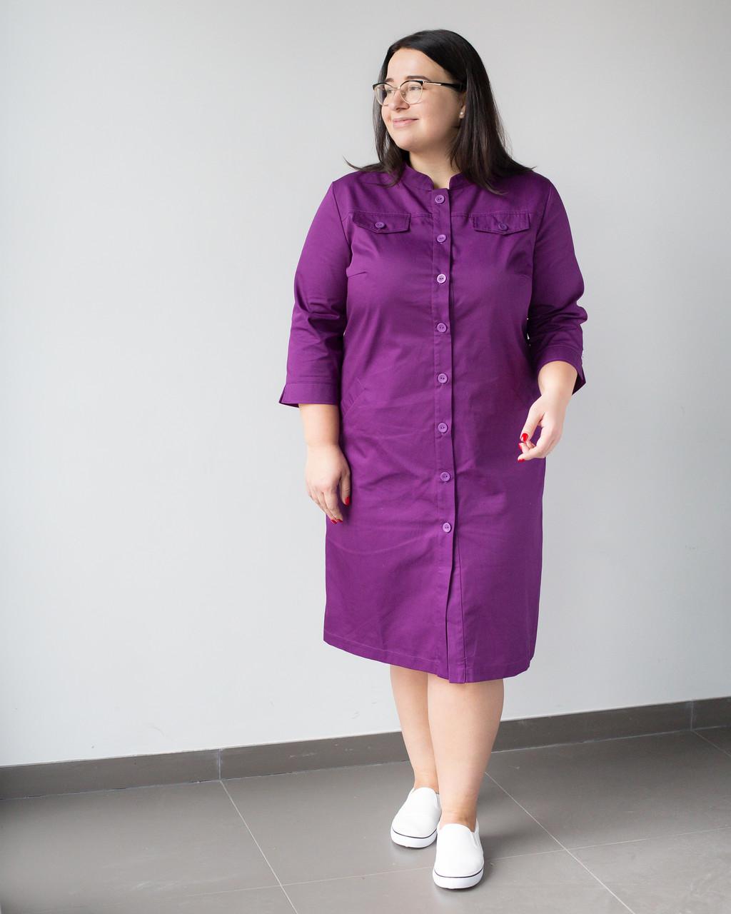 Медичний жіночий халат Валері фіолетовий +SIZE