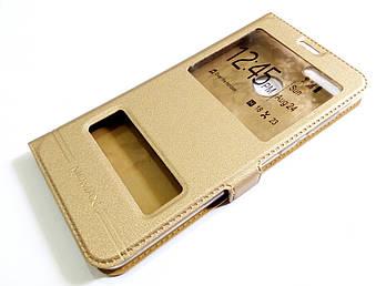 Чехол книжка с окошками momax для Huawei Honor 7X золотой