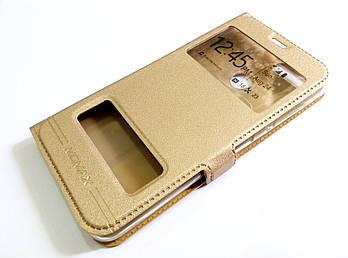 Чехол книжка с окошками momax для Huawei Honor 9 Lite золотой