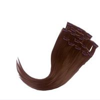 Волосы на заколках ровные из термоволокна 8 прядей 47 см, цвет теплый русый
