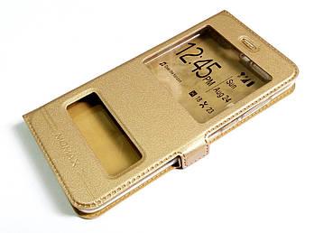 Чехол книжка с окошками momax для Huawei Honor 9 золотой