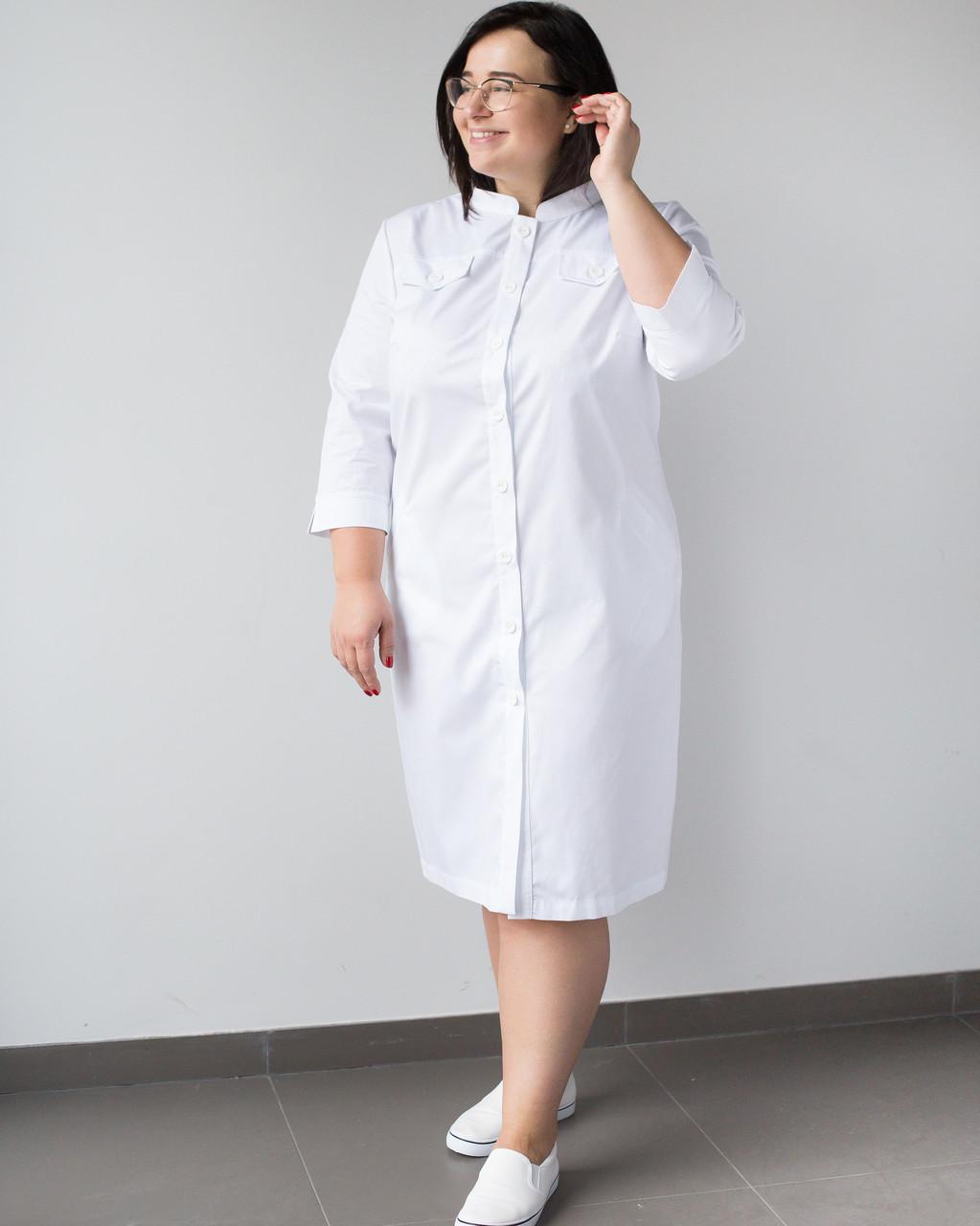 Медичний жіночий халат Валері білий +SIZE