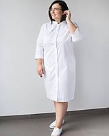 Медичний жіночий халат Валері білий +SIZE, фото 1