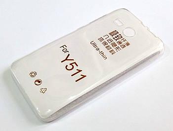 Чехол для Huawei Ascend Y511 силиконовый ультратонкий прозрачный