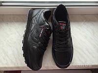 Кожаные кроссовки Reebok classic 41-46 размеры (реплика), черные кроссовки, кроссовки рибок, подошва пена