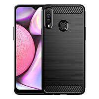 Противоударный TPU чехол Rugged Carbon для Samsung Galaxy A20S (sm-a207) (черный)