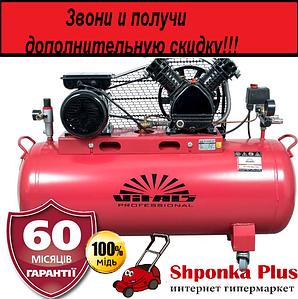 Компрессор ремень 3 цилиндра, 380 В, 100 л, 3 кВт, 12 бар, Vitals Professional GK 100j 653-12a3
