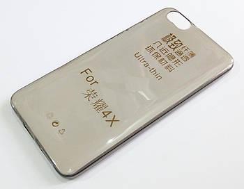 Чехол для Huawei Honor 4X силиконовый ультратонкий прозрачный серый